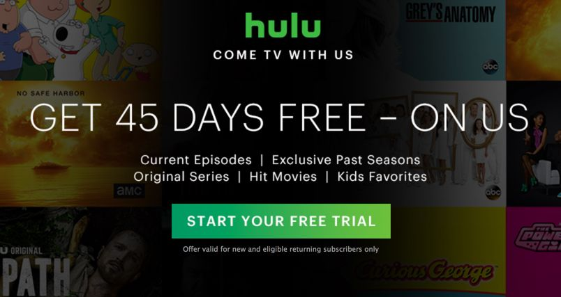 Sign Up to Enjoy Your FREE 45-Day Hulu Subscription!