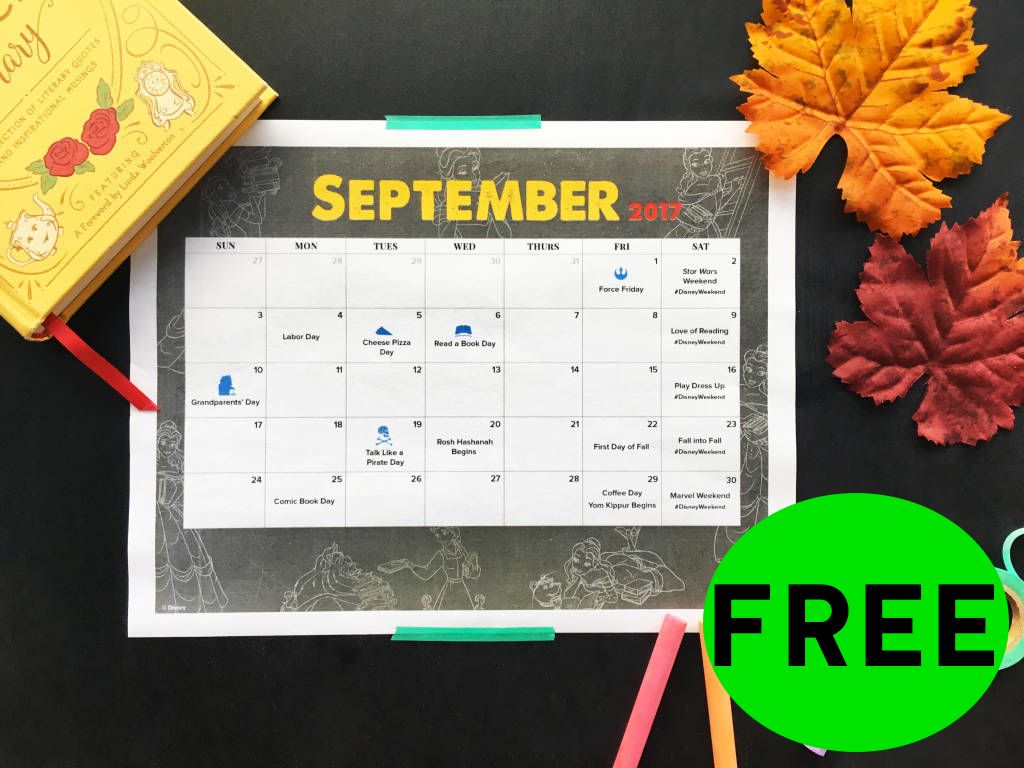 FREE Disney September Family Fun Calendar!