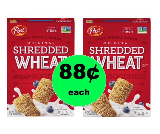 Pick Up Post Shredded Wheat Cereal ONLY 88¢ Each at Walmart! ~Right Now!