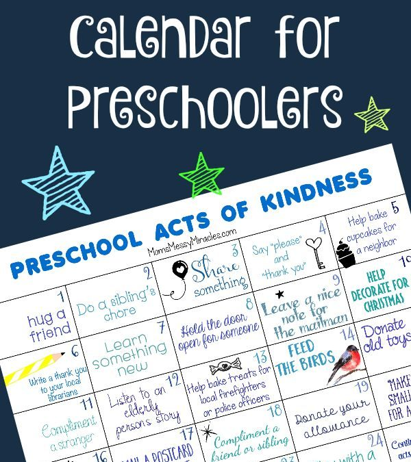 FREE Preschool Acts of Kindness Calendar!