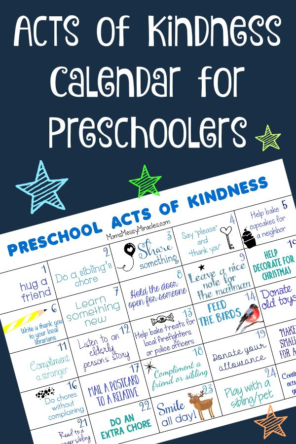 FREE Preschool Acts of Kindness Calendar!