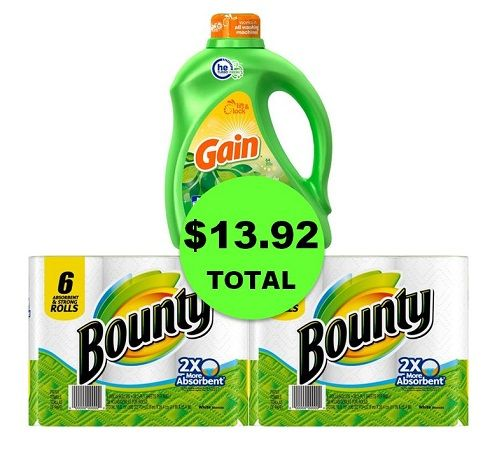 For Only $13.92, Get Gain Detergent 100 Oz & TWO (2!) Bounty Paper Towel 6 Packs at CVS! ~ Ends Saturday!