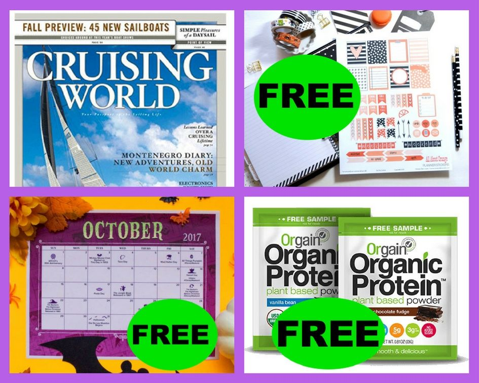 FOUR (4!) FREEbies: Cruising World Annual Magazine Subscription, October Planner Printable, October 2017 Disney Printable Calendar and Organic Protein Plant Based Protein!