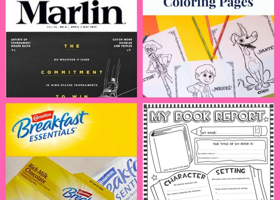 FOUR (4!) FREEbies: Annual Subscription to Marlin Magazine, Disney Coco Coloring Pages, Carnation Rich Chocolate Powder Drink and Printable Book Report!