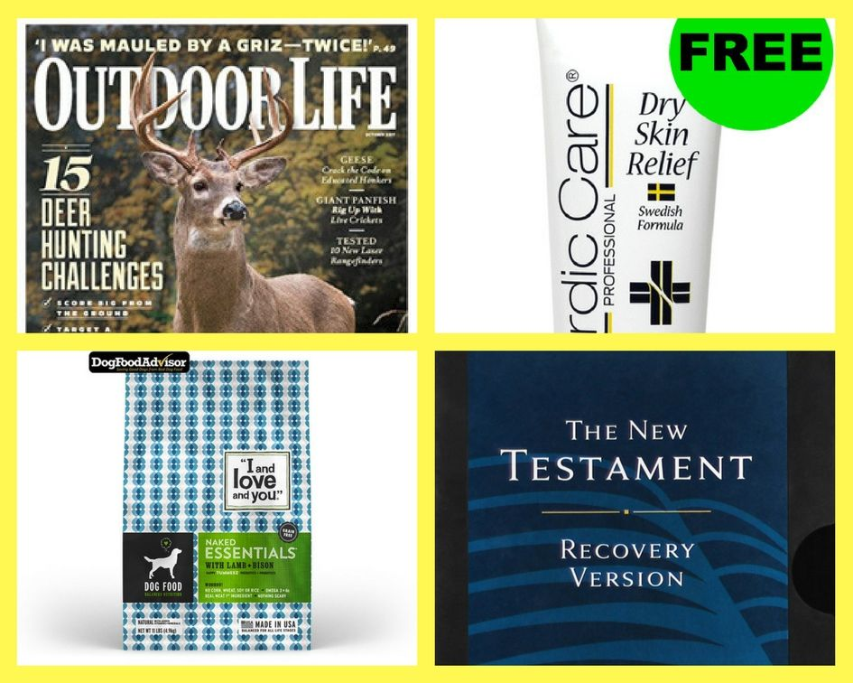 FOUR (4!) FREEbies: Annual Subscription to Outdoor Life Magazine, Foot Cream, Dog Food and New Testament Study Bible!