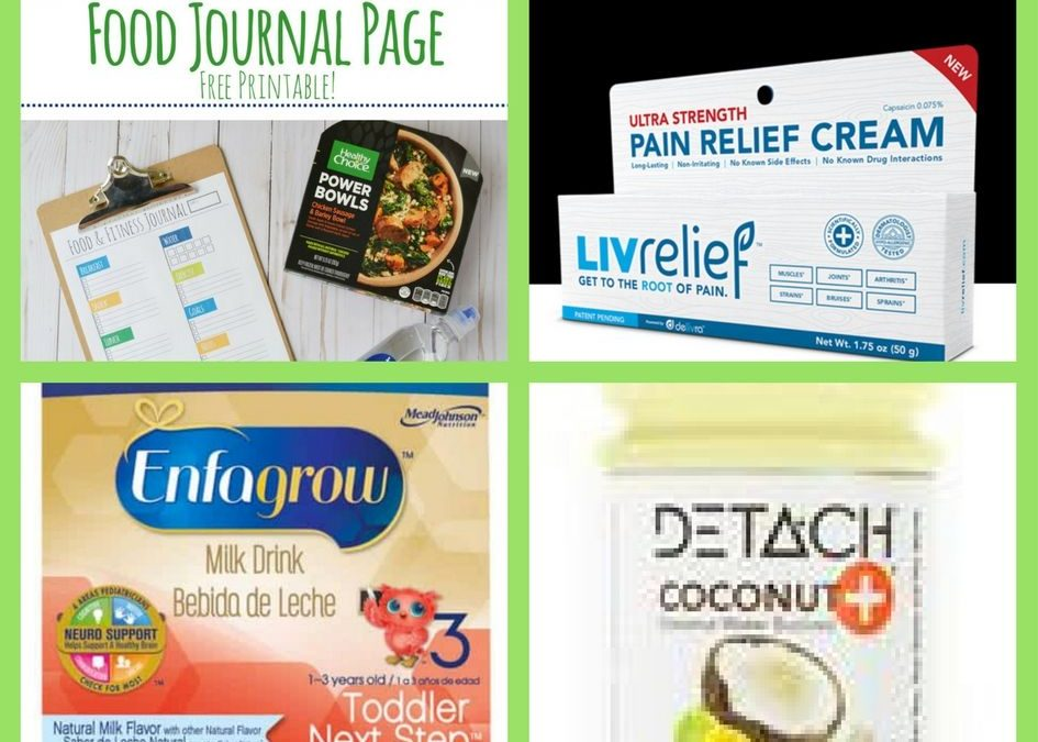 FOUR (4!) FREEbies: Food and Fitness Journal Printable, Natural Pain Relief Cream, Enfamil Enfagrow Product and Detach Coconut Water!