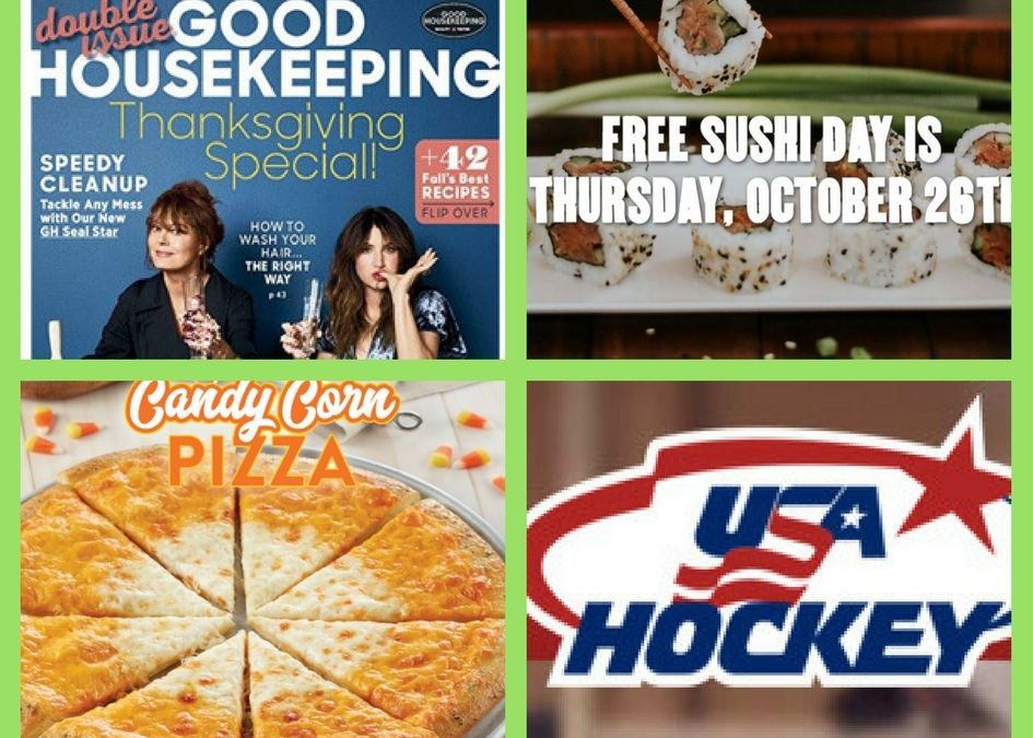FOUR (4!) FREEbies: One-Year Subscription to Good Housekeeping Magazine, Sushi at P.F. Chang's, Candy Corn Pizza from Chuck E Cheeses and Hockey!