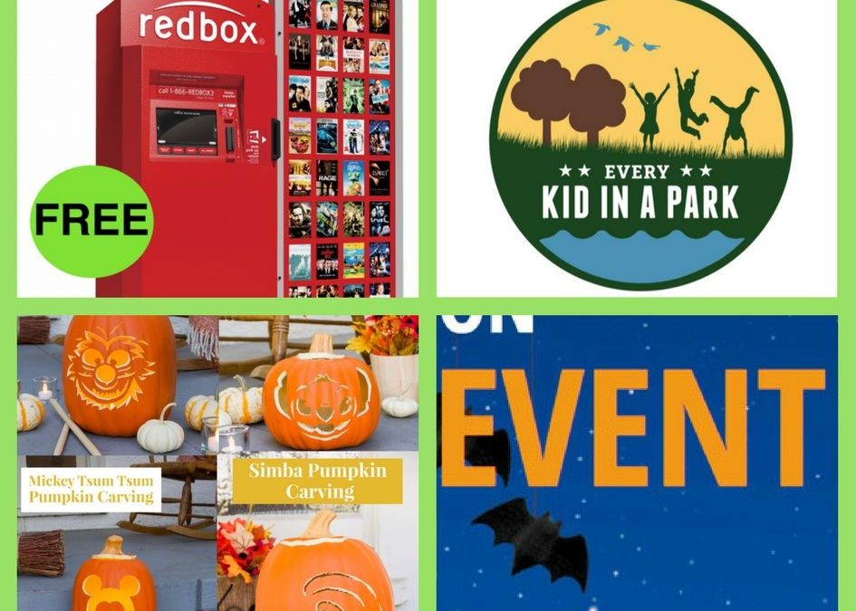 FOUR (4!) FREEbies: One-Night Movie Rental at Redbox, Annual Natural Park Pass for Fourth Graders, Disney Pumpkin Carving Printable Templates and Great Pumpkin Celebration at Bass Pro Shops!