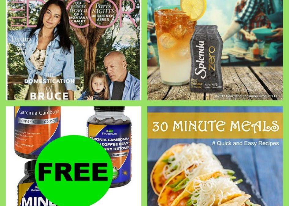 FOUR (4!) FREEbies: Annual Subscription to Elle Decor Magazine, Splenda Zero Liquid Sweetener, Biogreen Labs Product and 30 Minute Meals eBook!