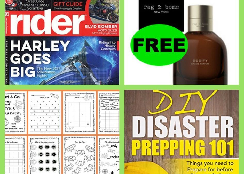 FOUR (4!) FREEbies: Annual Subscription to Rider Magazine, Rag & Bone Fine Fragrance, Math and Literacy Halloween Practice Pages Printable and DIY Disaster Prepping 101 eBook!