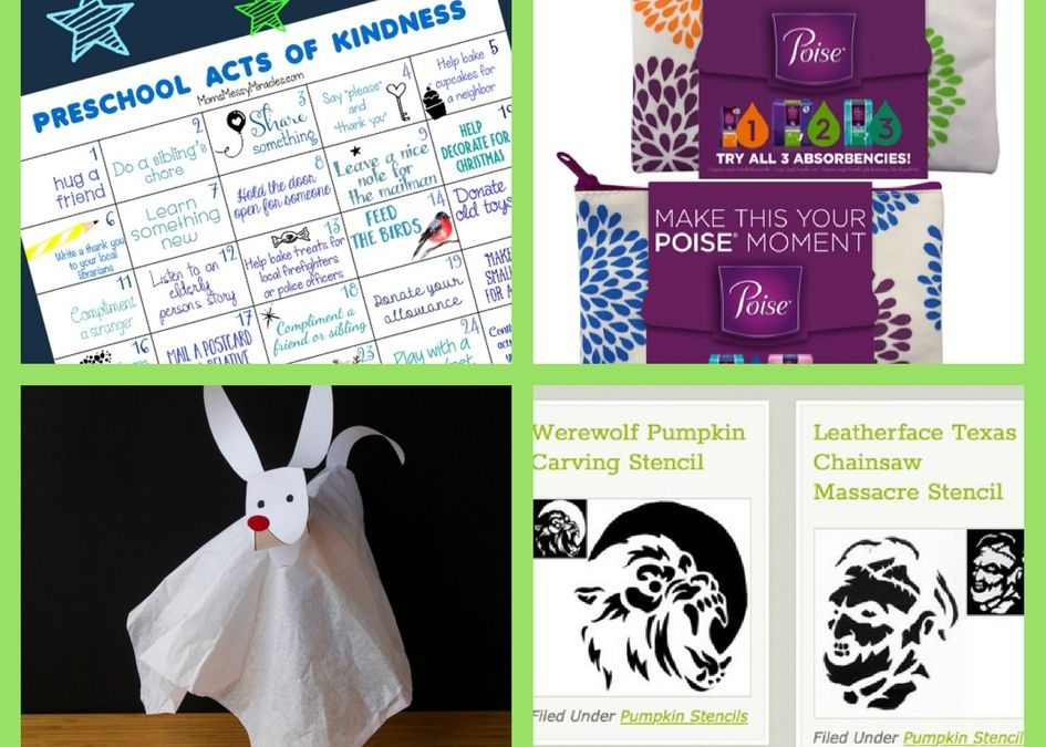 FOUR (4!) FREEbies: Preschool Acts of Kindness Calendar, Poise Sample Kit, Disney Paper Craft and Pumpkin Carving Stencils!