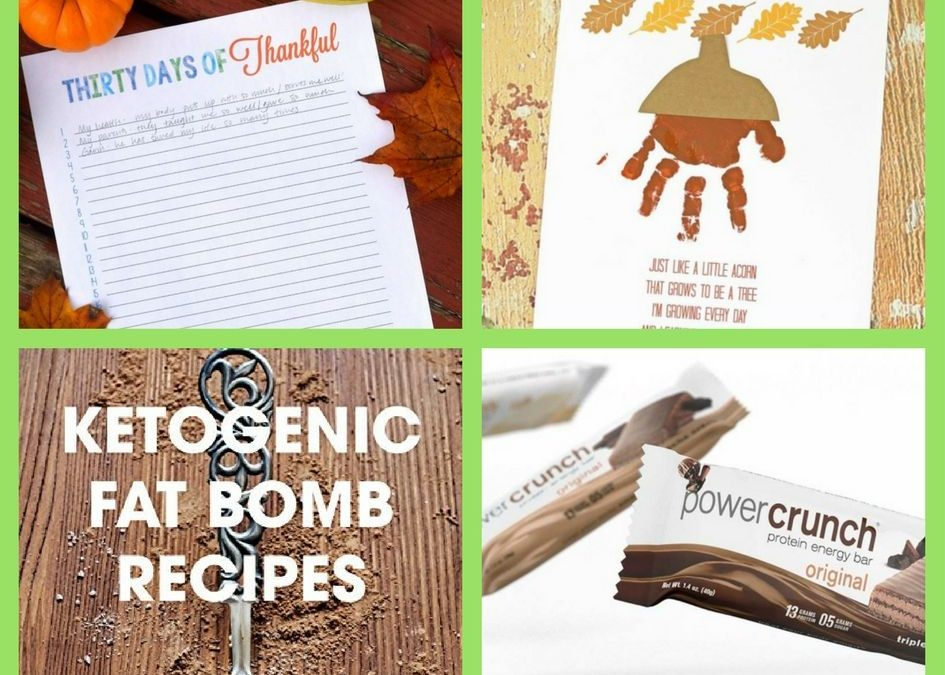 FOUR (4!) FREEbies: Thirty Day of Thankful Printable, Handprint Acorn Poem Printable, Fat Bomb Recipe eBook and Power Crunch Protein Bar!