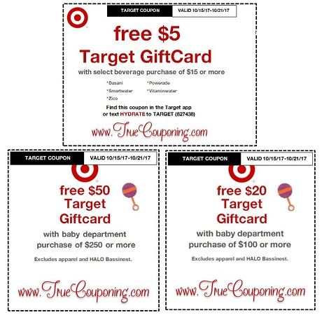*Heads Up* This Sunday (10/15/17) We're Getting a FREE $5 Gift Card wyb $20 Select Beverages AND a FREE $20 or $50 Gift Card wyb Baby Dept. Target Coupon!