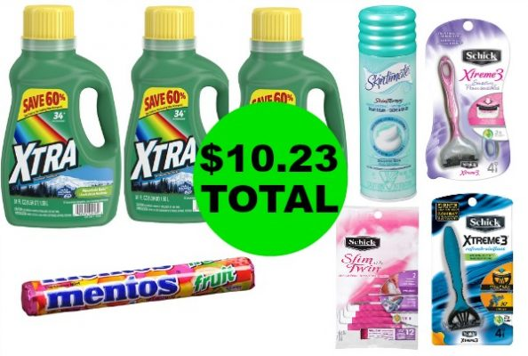 For $10.23 TOTAL, Get (3) Schick Razor Packs, (1) Shave Gel, (3) Xtra Laundry Detergent & Mentos Candy This Week at Walgreens!
