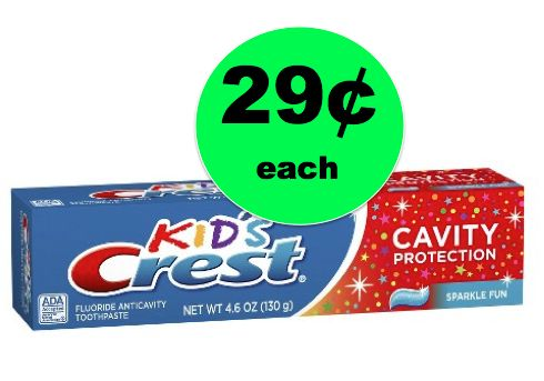 Pick Up Crest Sparkle Fun Kids' Toothpaste ONLY 29¢ Each at Walmart! ~Right Now!