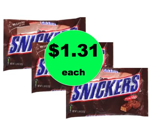 Halloween Stock Up! Snickers Fun Size Candy ONLY $1.31 Each at Walgreens! ~ Right Now!