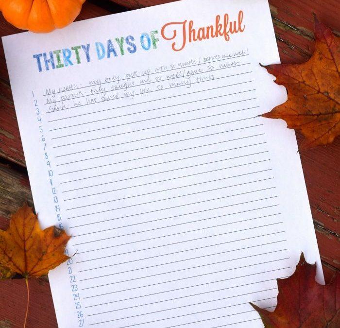 FREE Thirty Day of Thankful Printable!