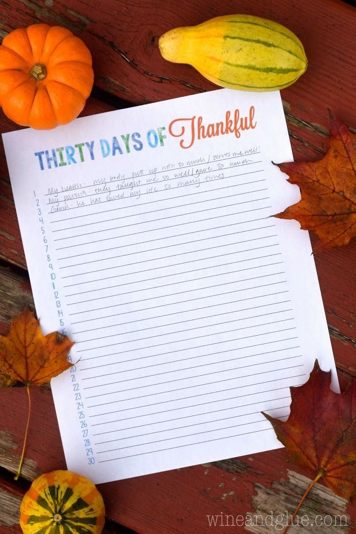 FREE Thirty Day of Thankful Printable!