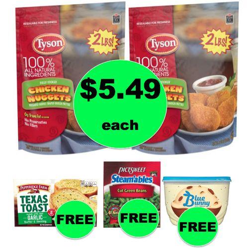 Winn Dixie Meal Deal: Buy (2) Tyson Chicken Nuggets for $10.98, Get Garlic Toast, Veggies & Ice Cream FREE! (10/11-10/17)