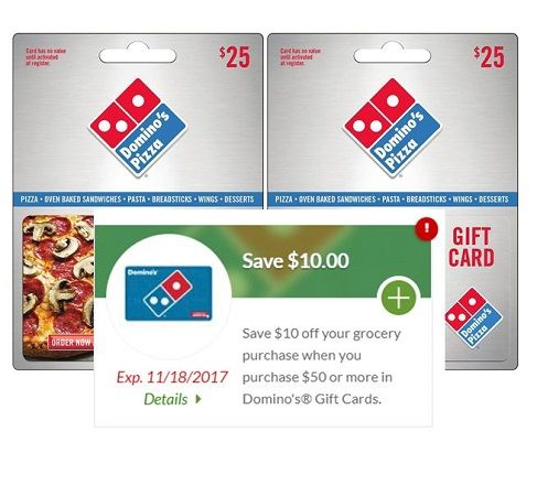 Pizza Time Or Gift Time You Pick 10 Off Grocery Purchase Wyb 50 Of Dominos Gift Card