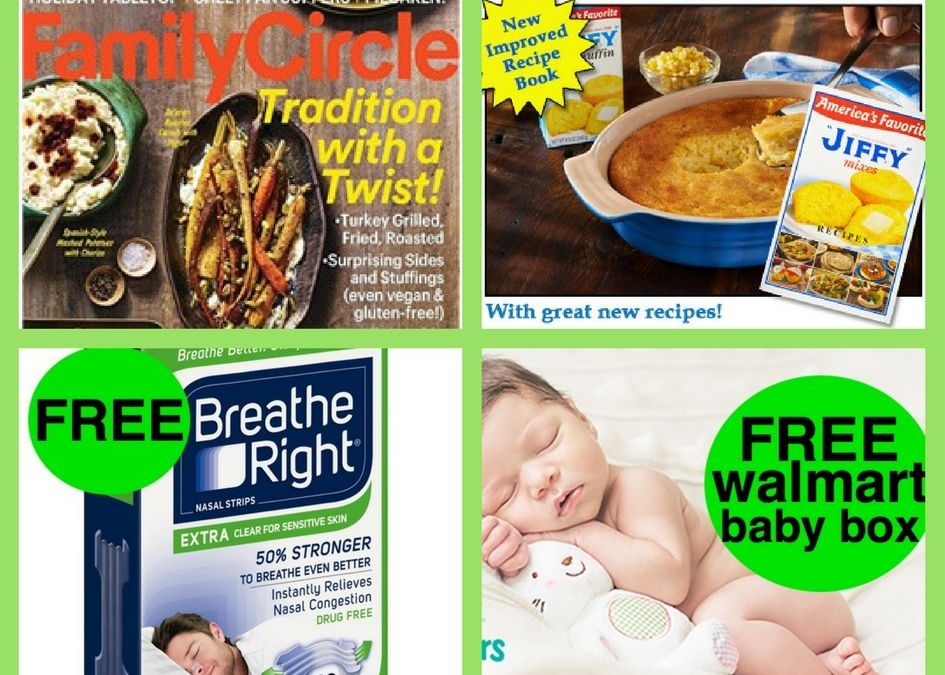 FOUR (4!) FREEbies: Annual Subscription to Family Circle Magazine, Jiffy Mix Cookbook, Breathe Right Strips and Walmart Baby Box!