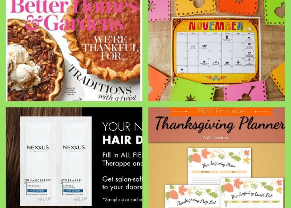 FOUR (4!) FREEbies: Annual Subscription to Better Homes & Gardens Magazine, November Disney Calendar, Nexxus Products and Thanksgiving Planner Printable!