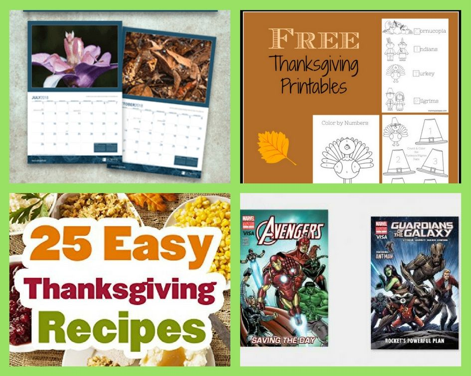 FOUR (4!) FREEbies: 2018 Calendar, Thanksgiving Printable Activity Sheets, 25 Easy Thanksgiving Recipes and Comic Books!