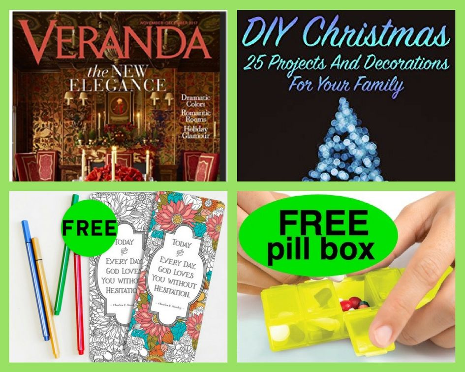 FOUR (4!) FREEbies: Annual Subscription to Veranda Magazine, DIY Christmas eBook, In Touch Ministries Bookmarks and GoodRx Pill Box! {Get Your Vitamins Organized!}!