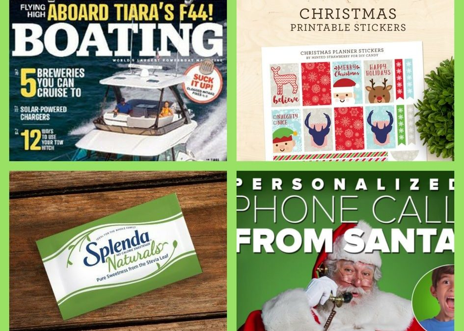 FOUR (4!) FREEbies: Annual Subscription to Boating Magazine, Christmas Planner Printable Stickers, Splenda Natural Stevia Sweetener and Personalized Call From Santa!