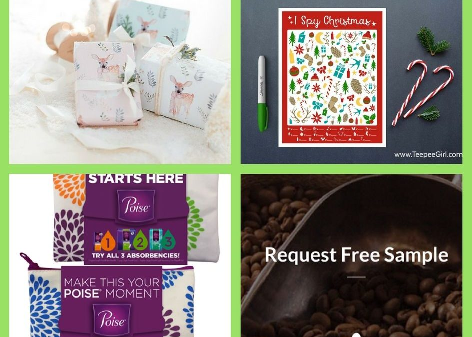 FOUR (4!) FREEbies: Christmas Wrapping Paper, I Spy Christmas Printable Game, Poise Starter Pack and Better Cup Of Joe Coffee!
