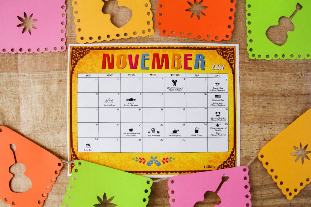 FREE November Disney Calendar!