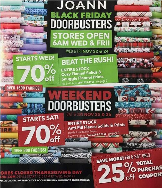 JoAnn Black Friday Ad Scan 2017 {70% Off Sales & 25% Off Total Purchase Coupon!}