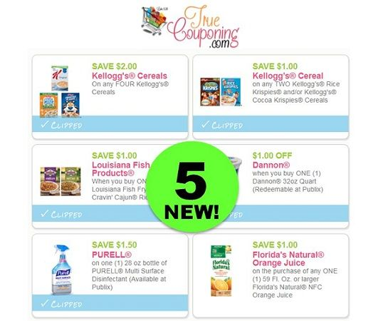 FIVE (5!) **NEW** Coupons To Print Today! ~ Save on Purell, Dannon, Kellogg's & More!