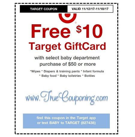 *Heads Up* This Sunday (11/12/17) We're Getting a FREE $10 Gift Card wyb $50 Baby Dept. Target Coupon!
