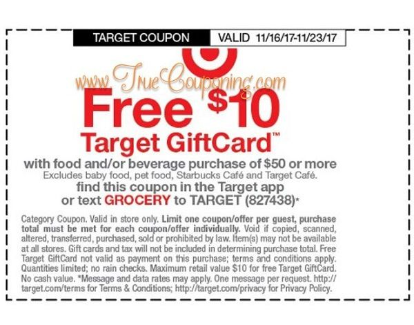 *Heads Up* There's a FREE $10 Gift Card wyb $50 Food &/or Beverage Target Coupon! (Valid 11/16 – 11/23)