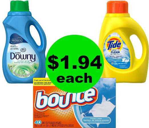Stock Up on $1.94 Tide Simply, Downy Softener or Bounce Sheets at CVS! (12/24 – 12/30)
