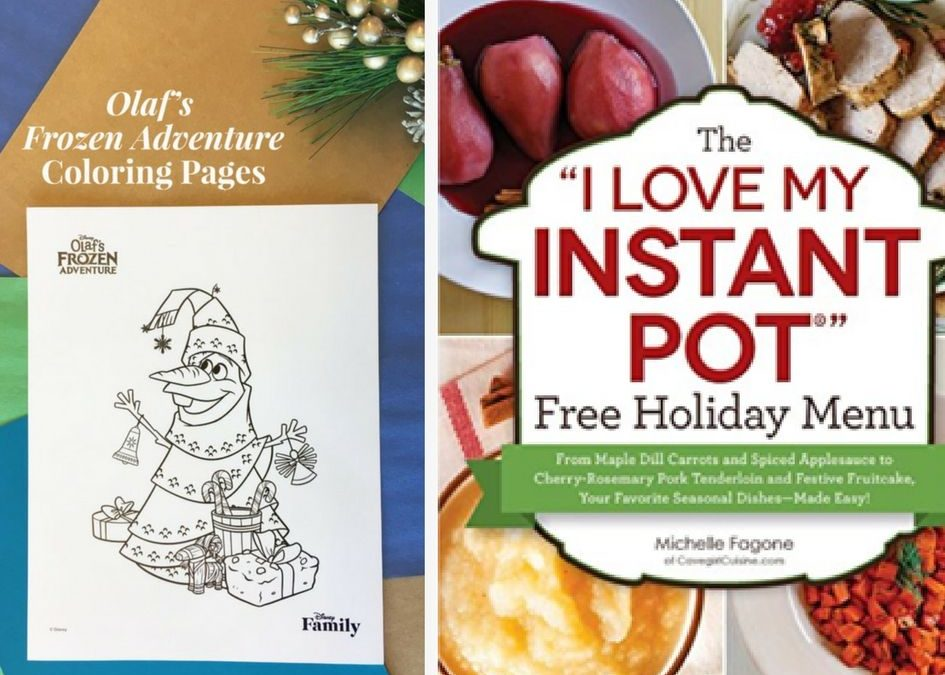 TWO (2!) FREEbies: Instant Pot Holiday Men and Disney's Olaf Holiday Coloring Pages!
