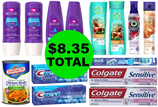 Don't Miss the $41 Worth of Aussie & Herbal Essences Hair Care, Crest Toothpaste, Colgate Toothpaste, & Oral-B Dental Care & Swanson Chicken Broth You Get This Week at Walgreens for Only $8.35 TOTAL ~ Ends Saturday!