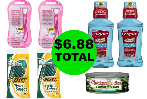 For $6.88 TOTAL, Get (4) Bic Razor Packs, (2) Colgate Mouthwash and Starkist Tuna This Week at Walgreens!