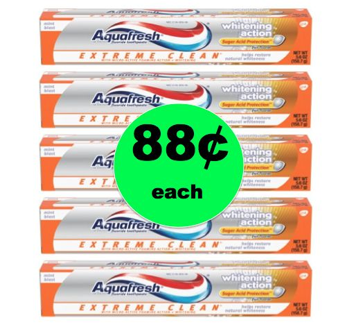 Stock the Bathroom Cabinet with 88¢ Aquafresh Extreme Clean Toothpaste at Walmart! ~This Week!