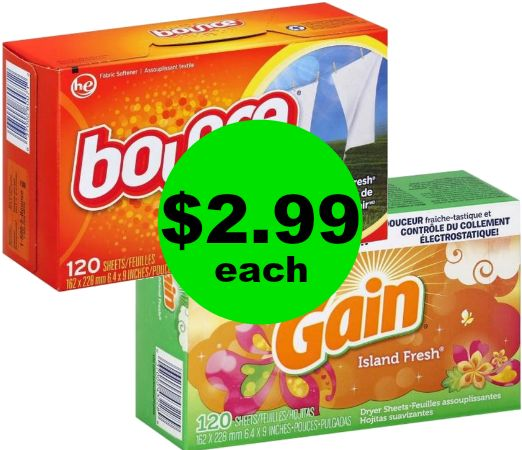 Make Your Laundry Smell Marvelous with Bounce or Gain Dryer Sheets Only 3¢ Per Load at Publix! ~ Start Weds/Thurs!