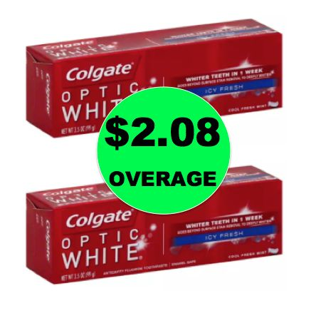 TWO (2!) FREE + $2.08 Overage on Colgate Optic White or Advanced Toothpaste at Walgreens! ~ Today Only!