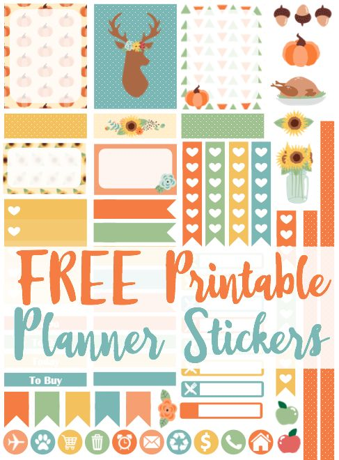 FREE Thanksgiving Printable Planner Stickers!