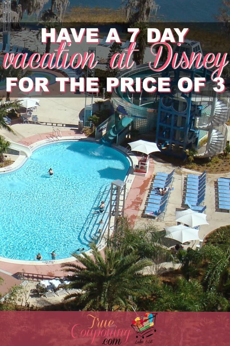 Are you wanting to take a week vacation to Disney World but don't don't think you can afford an entire week? Here's how you can enjoy a 7 Day vacation for the price of 3! #truecouponing #disney #disneyworld #savings #vacation