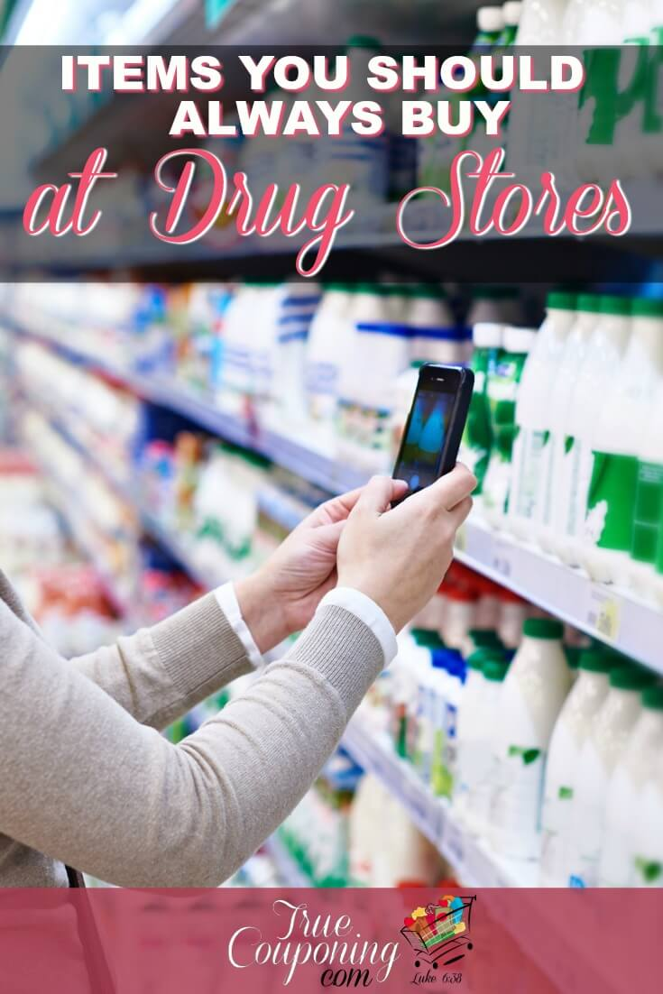 Did you realize there are over THIRTEEN items that cost the LEAST at Drugstores? Check out this list to make sure you know WHAT TO BUY there! #savingmoney #drugstoreshopping #truecouponing #debtfree #couponcommunity