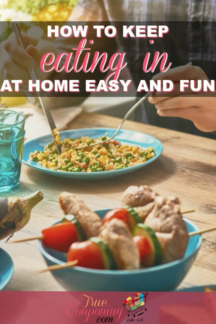 Eating out is expensive. Don't let it blow your budget by keeping dinner fun at home with these great tips! #truecouponing #dinner #familytime #dinnertime #savings