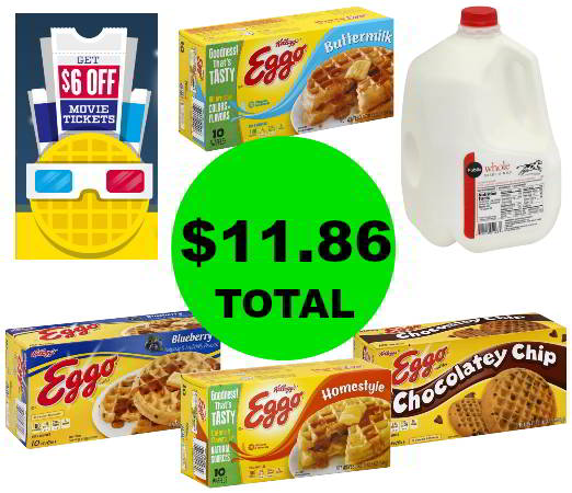For Only $11.86, Get (4) Eggo Waffles, (1) Gallon of Milk & $6 in Movie Cash at Publix! Going On Now!
