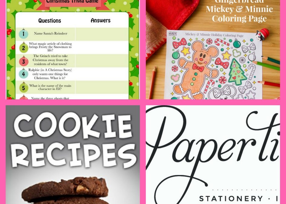 FOUR (4!) FREEbies: Christmas Trivia Game Printable, Mikey & Minnie Coloring Page, Cookie Recipes eBook and Papertie Affair Wedding Invite Product!
