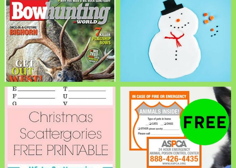FOUR (4!) FREEbies: One Year Subscription to BowHunting World Magazine, Michael's Snow Slime Event, Printable Christmas Scattegories and ASPCA Pet Safety Pack!