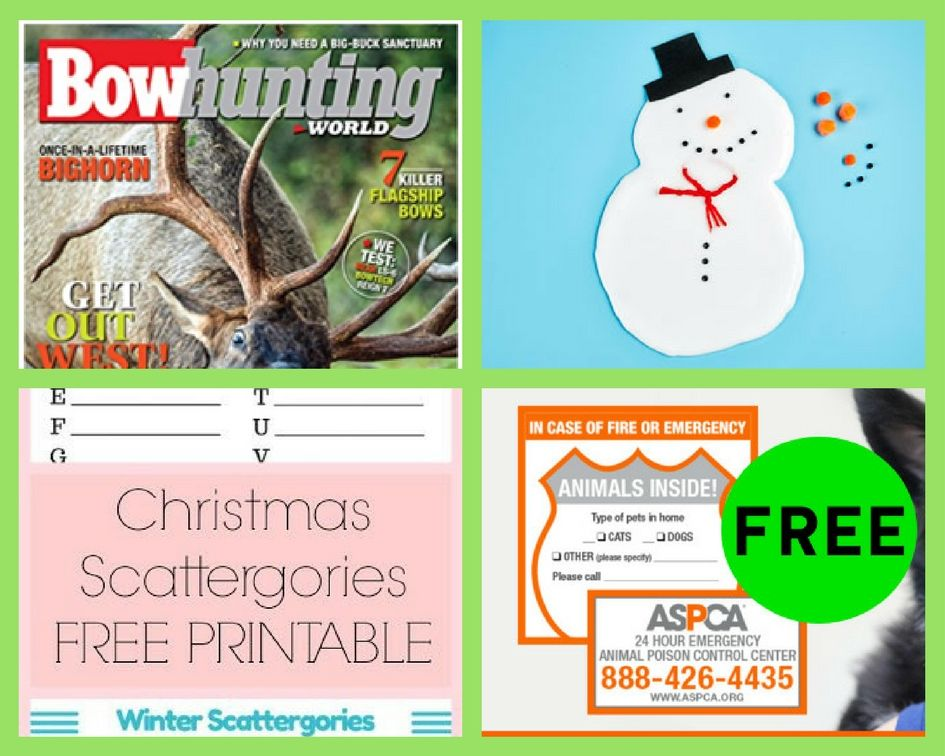 FREEbies: One Year Subscription to BowHunting World Magazine, Michael's  Snow Slime Event, Printable Christmas Scattegories and ASPCA Pet Safety  Pack!